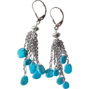 Vintage Sleeping Beauty Turquoise Sterling Silver Earrings