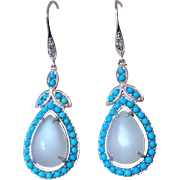 Vintage Sleeping Beauty Turquoise Moonstone Earrings Sterling Silver Pierced Ears
