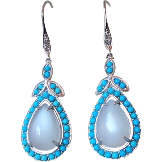 Vintage Sleeping Beauty Turquoise Moonstone Earrings Sterling Silver Pierced Ears