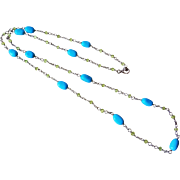 Vintage 1980's Sleeping Beauty Turquoise Peridot Sterling Silver Necklace