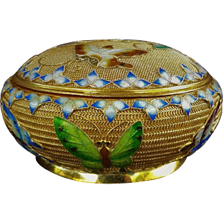 Antique Chinese Export Sterling Silver Gilt Mesh Enamel  Box