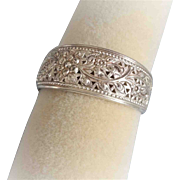 Sterling Silver Repousse Pierced Floral Cuff Bracelet