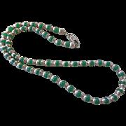 1978 Vintage Taxco Cuernavaca Mexican Chrysoprase Sterling Silver Necklace