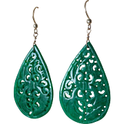 Vintage Chinese Hand Carved Emerald Imperial Green Jadeite Earrings