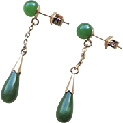 Vintage Chinese Green Nephrite Jade Gold Vermeil Earrings