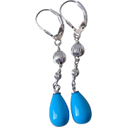 Vintage Teardrop Sleeping Beauty Turquoise Earrings Sterling Leverbacks