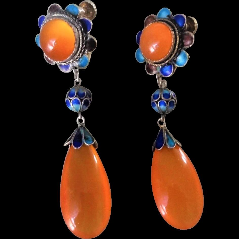 Vintage Art Deco Chinese Export Translucent2.25 Carnelian Enamel Gold Gilt Sterling Filigree Earrings