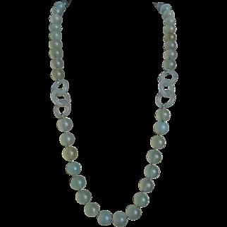 "Vintage Translucent Devil's Work Jade Necklace 28 "" Gold Vermeil Clasp"
