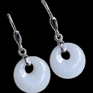 Vintage Translucent White Jadeite Earrings Sterling Silver