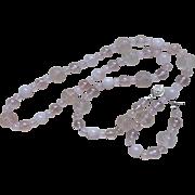 Vintage Chinese Hand Carved Shou Transparent Rose Quartz Necklace