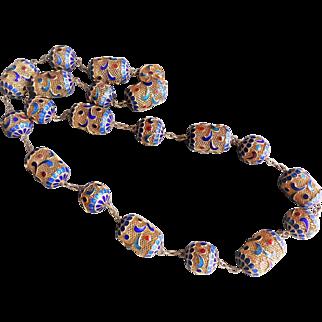 Vintage Chinese Export Gold Gilt Mesh Bead Cloisonne Enamel Necklace