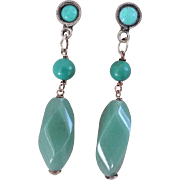 Vintage Chinese Export Turquoise Aventurine Silver Earrings