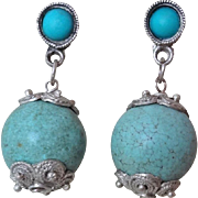 Vintage Chinese Turquoise Sterling Silver Earrings
