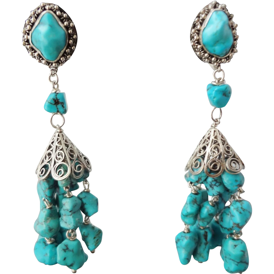 Vintage Chinese Export Turquoise Sterling Silver Filagree