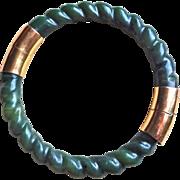 Vintage Chinese Hand Carved Twisted Rope Design Green Nephrite Jade Bracelet