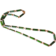 Chinese Export 1970's Vintage Green Jade Links Gold Wash Sterling Silver Caps and Clasp