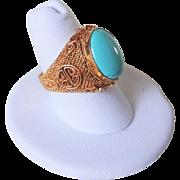 Vintage Chinese Export Art Deco Turquoise Gold Gilt Mesh Shou Design Ring