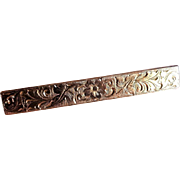 Antique 1800's Victorian 14k Yellow Gold Floral Engraved Rectangular Bar Brooch Pin