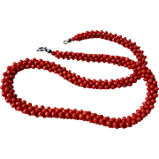 Victorian 1890-1900 Deep Red Coral Woven Necklace