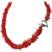 Vintage Red Mediterranean Coral 4 Strand Necklace 19 Inches Long