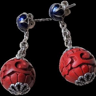 Vintage Chinese Hand Carved Red Cinnabar Earrings Blue Enamel