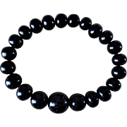 Antique 1860's Victorian Graduating Whitby Jet Beads Mourning Bracelet