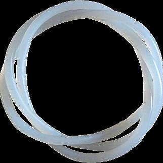 Vintage Chinese White Jade Devil's Work Spiral Bangle
