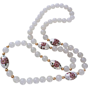 "Vintage Chinese 14k White Translucent Jade White Cloisonne Necklace 36"" Opera Length"