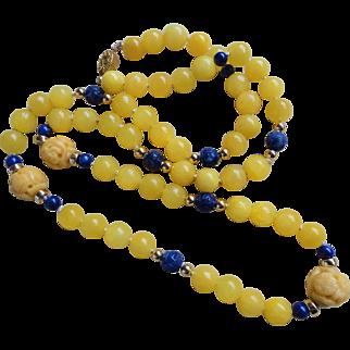 "Vintage 1950's Chinese Yellow Jadeite Lapis Lazuli Carved Shou Necklace 31"""