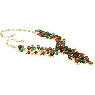 Juliana Necklace with Rhinestones and Beads in a Green and Brown Color Combination.