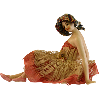 Vintage Bathing Beauty Doll with Dress and Wig