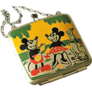 Disney Mickey & Minnie Mouse with Pluto Rare Vintage Metal Doll Purse