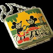 Disney Mickey & Minnie Mouse with Pluto Rare Vintage Metal Doll Purse