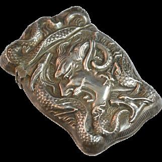Antique Sterling Silver Match Safe Devil and Serpent Motif