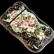 Vintage Sterling Silver Porcelain Enameled Match Safe Featuring a Floral Motif