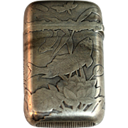 Vintage Gorham Steerling Silver Match Safe featuring a Fish and Flowers Motif
