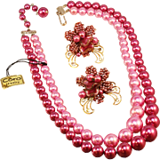 Coro simulated Pink Pearl Necklace and Earrings with Paper Label