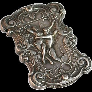 Antique Sterling Silver Art Nouveau Match Safe