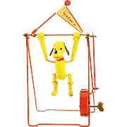 Vintage Wind up Linemar/Marx Celluloid Pluto Disney Trapeze Gym Toy