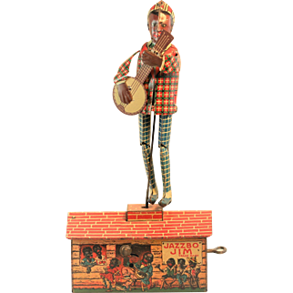 Wind Up Jazzbo Jim with Banjo Dancing on the Roof Vintage Toy and Box by Unique Art Mfg., Company
