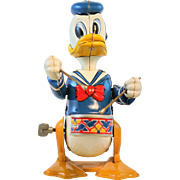 Walt Diney Productions Lin Mar Donald Duck Drummer wind up Toy