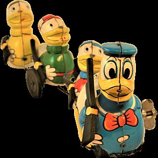 Donald Duck & Nephews with Rifles Line Mar Wind Up Toy Walt Disney Productions