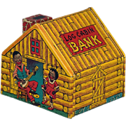 Vintage Black Americana Log Cabin & Singers Tin Litho Bank by J Chein & Co.