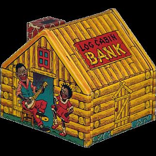 Vintage Black Americana Log Cabin & Singers Tin Litho Bank by J Chein & Co.
