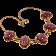 Vintage Necklace signed Kramer with Purple Rhinestones