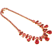 Vintage Pink Necklace with Marquis and Tear Drop Rhinestones