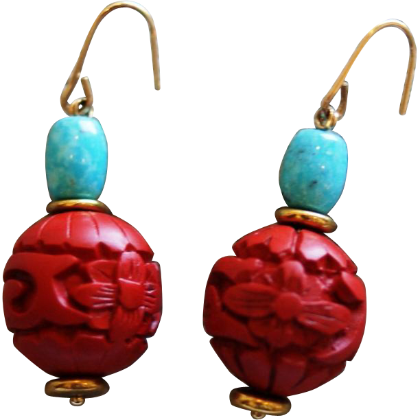 cinnabar and natural nacozari turquoise earrings sold on rub