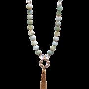 Matte Black Gold Amazonite Vintage Tassel  Necklace with Swarovski Crystals