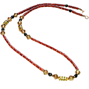 Ethnic Sponge Coral, Vintage African Krobo Beads and Brass Necklace
