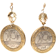 French 10 Franc Earrings with Golden AB Crystals